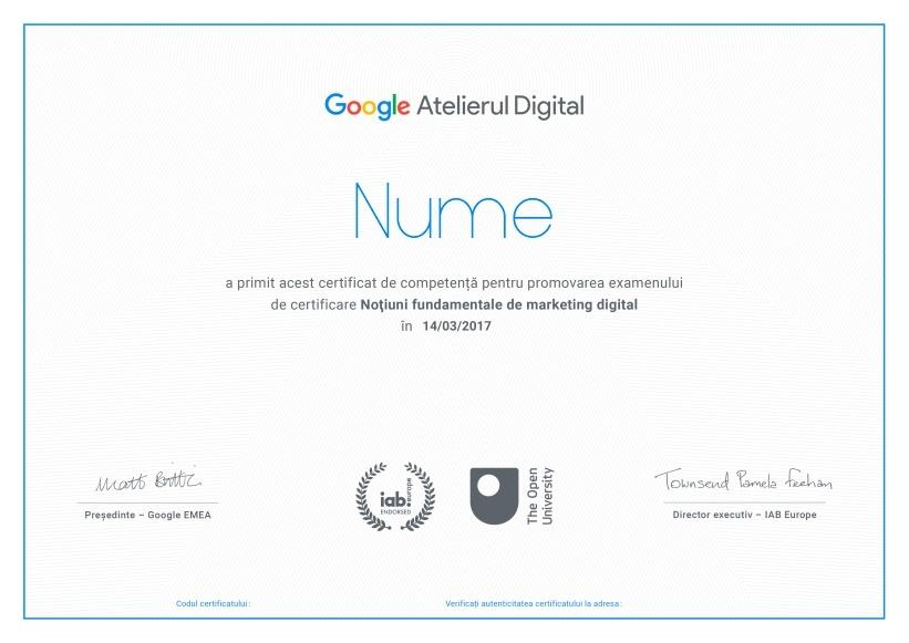 diploma atelierul digital google