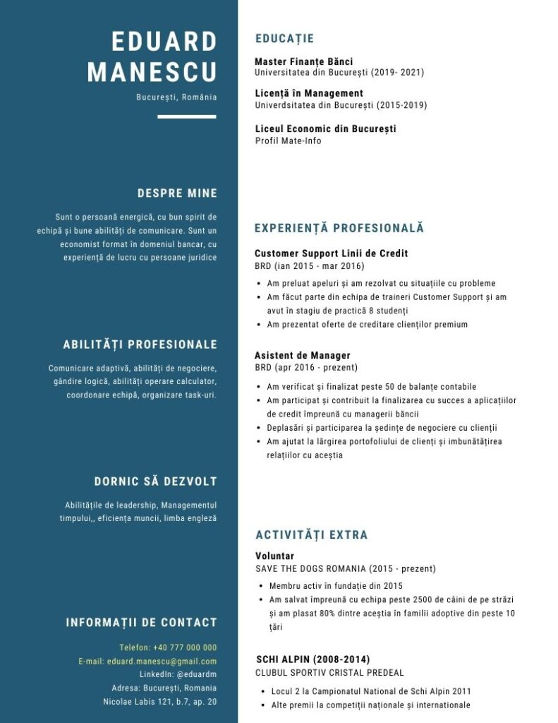 Model CV angajare exemple completate