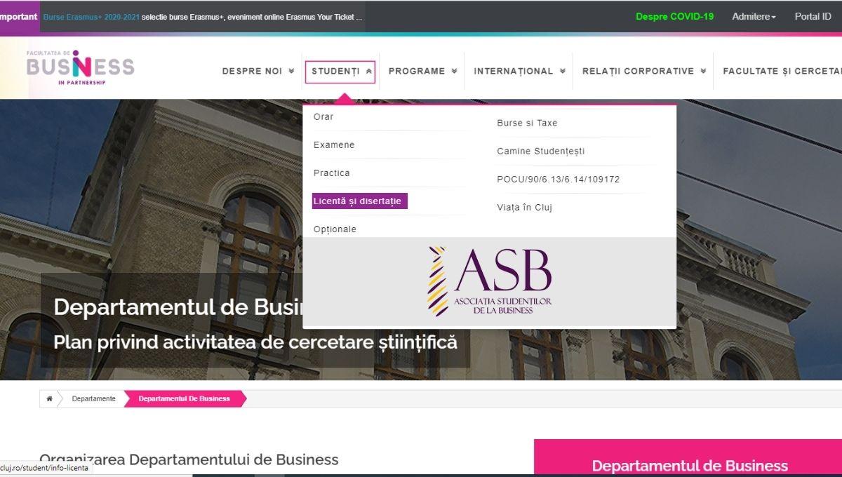ghid redactare lucrare de licenta rubrica dedicata pe site-ul ubb facultatea de business