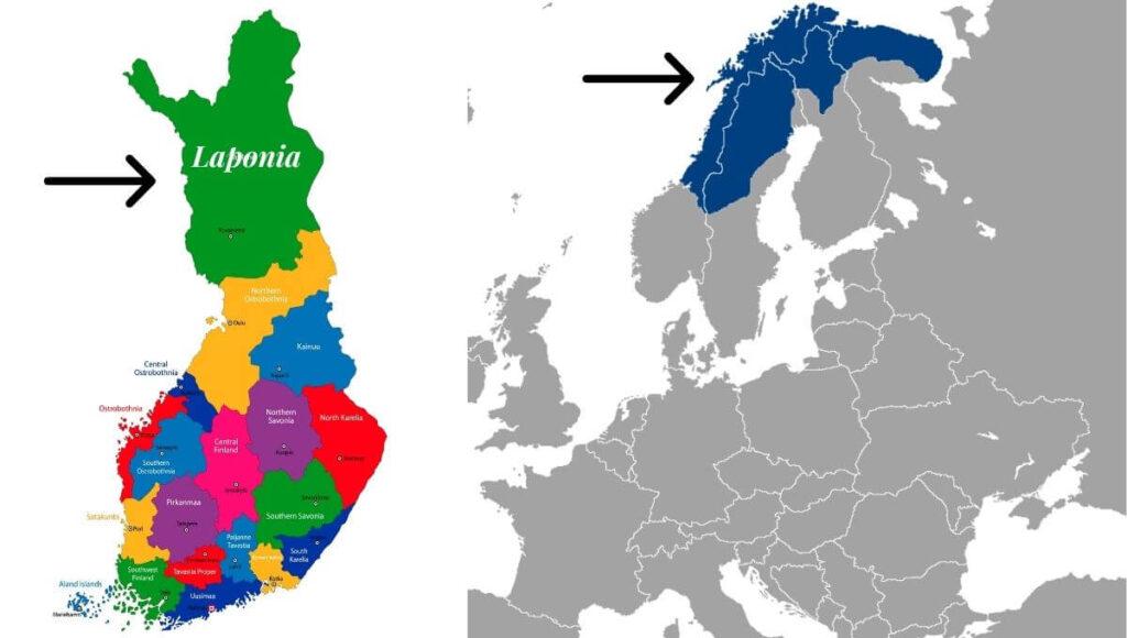 Laponia harta - unde este laponia pe harta