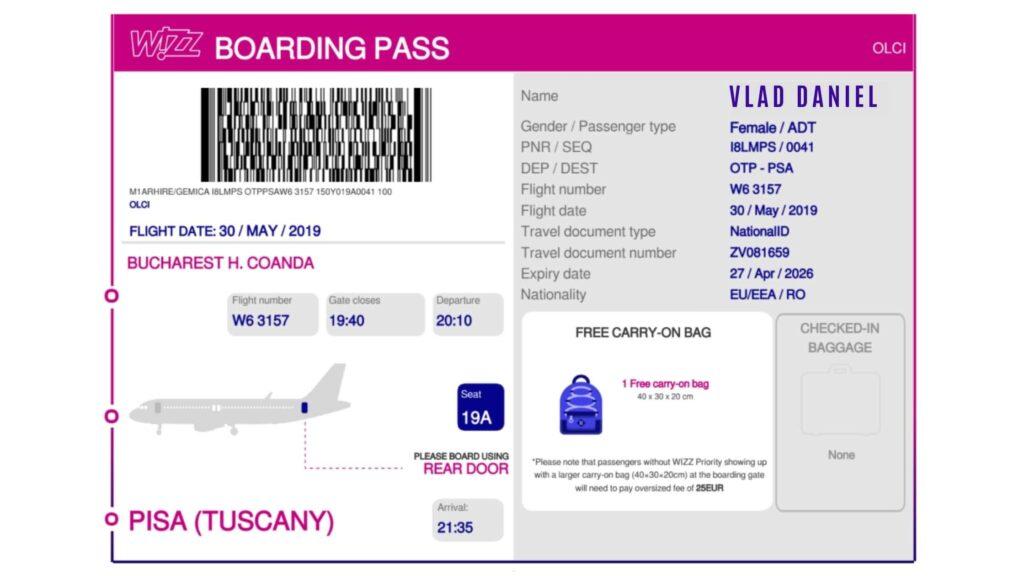 cum arata un bilet de avion wizzair