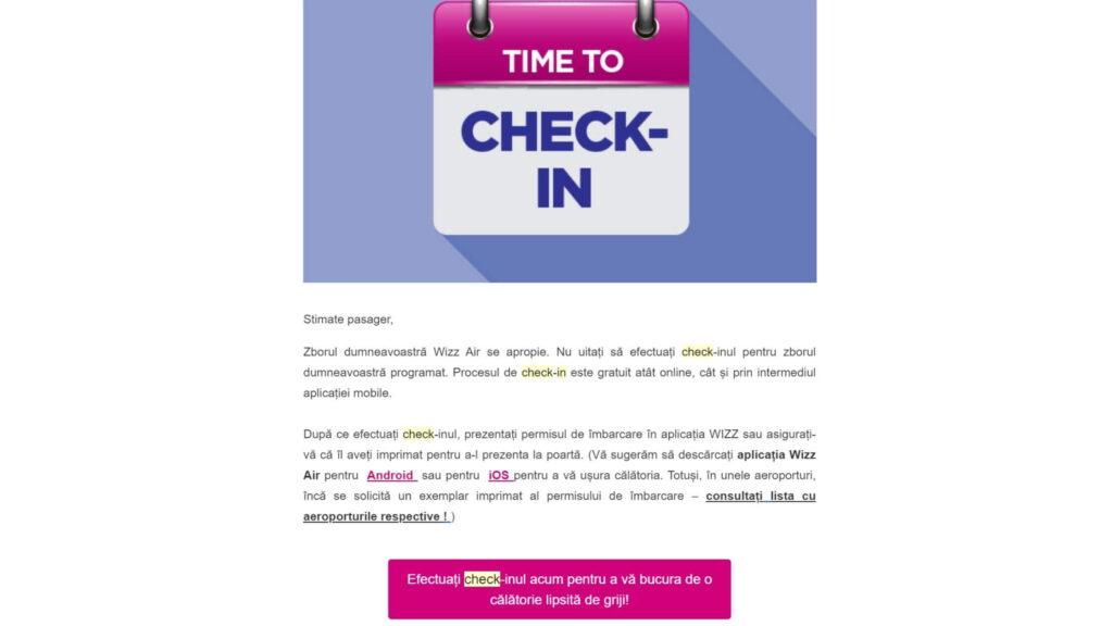 e-mail efectuare check-in zbor avion