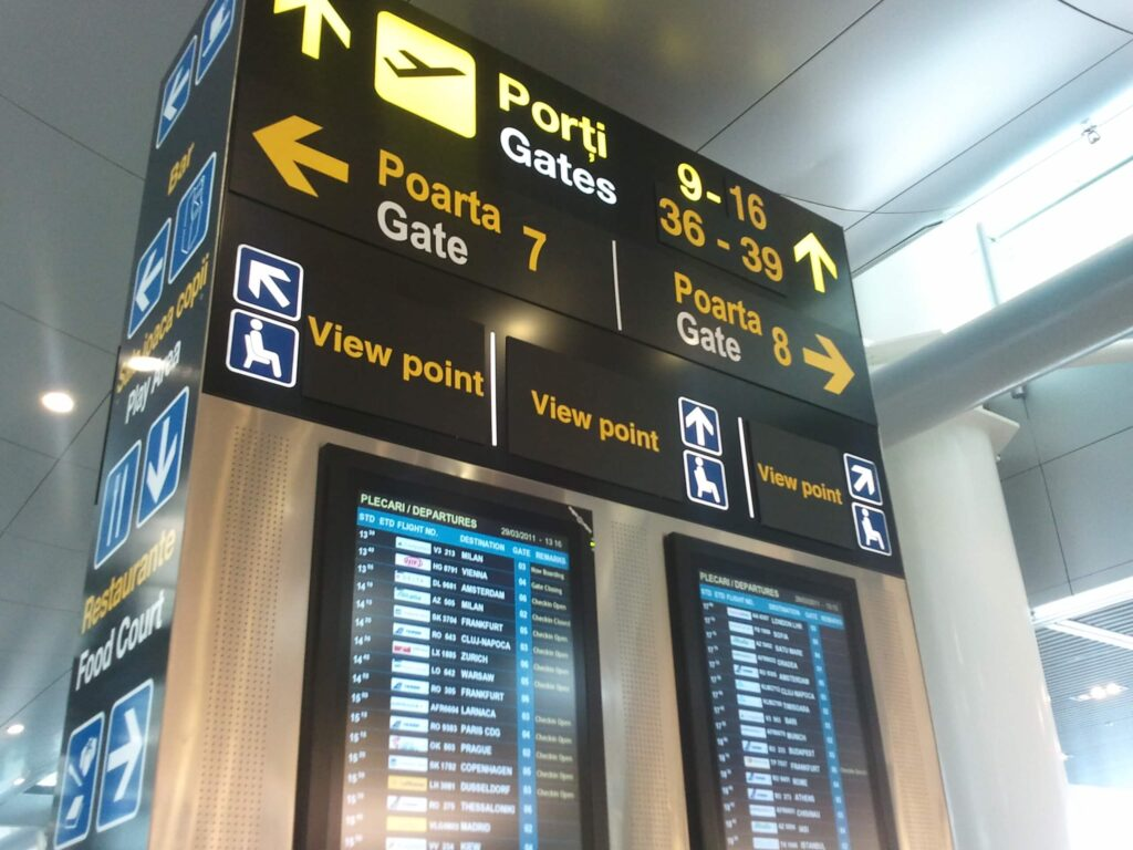 primul zbor cu avionul - drumul spre poarta check-in